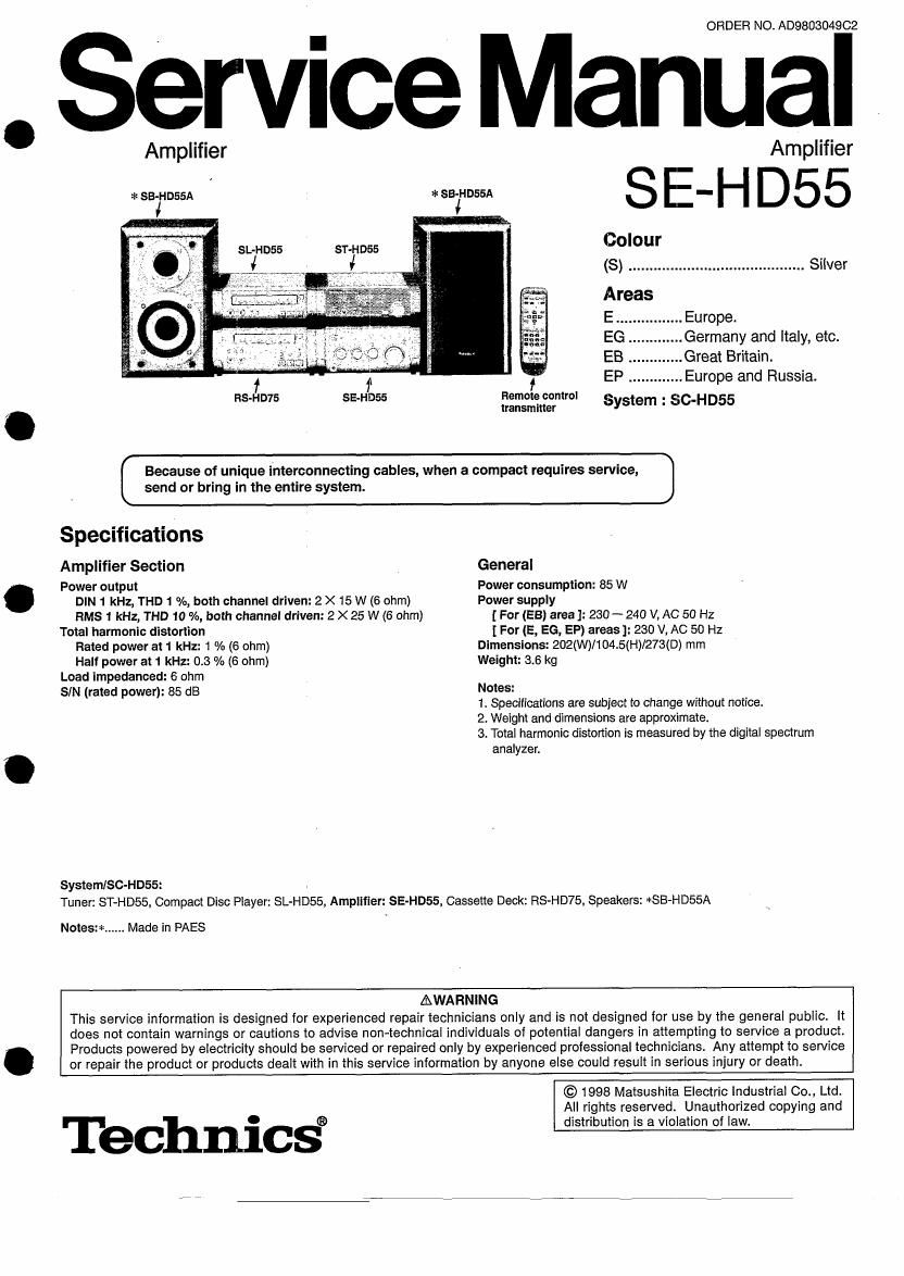 Technics Sehd 55 Service Manual Wiring Diagram