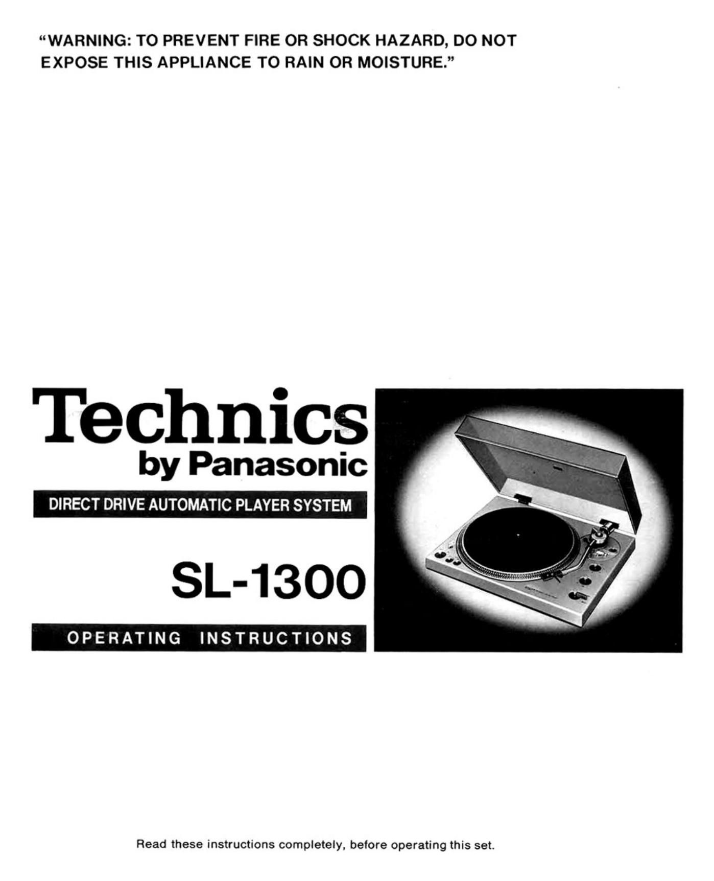 Technics SL 1300 Owners Manual
