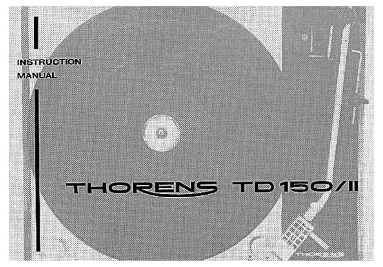Thorens TD 150 MK II Owners Manual