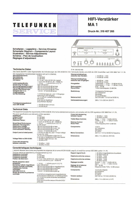 Telefunken MA 1 Service Manual
